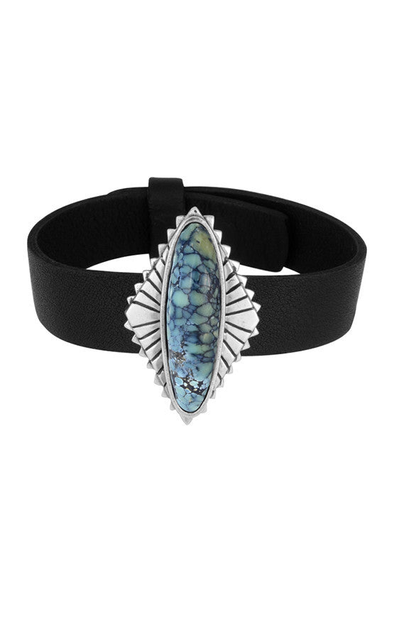 Black Leather Bracelet with Top Hat Spotted Turquoise Concho