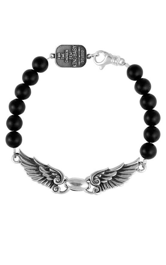 king baby men's silver wing bracelet