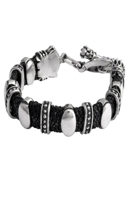 Black Stingray Bracelet w/Silver Links