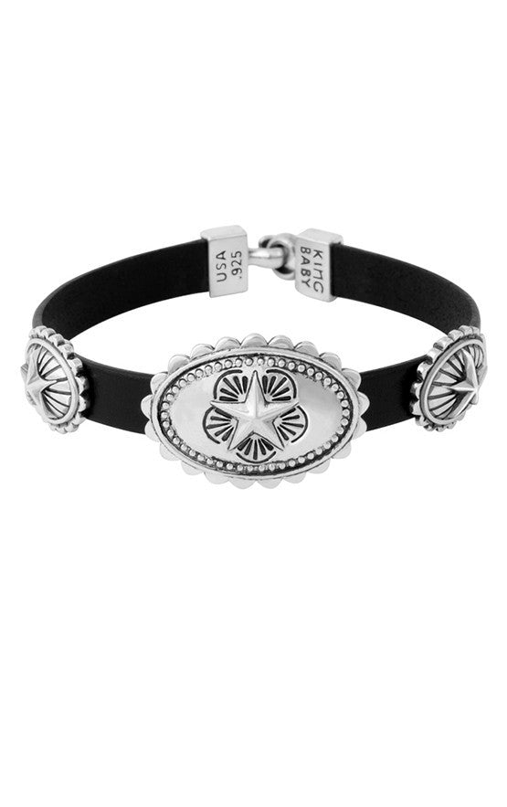 Bracelets | Leather Bracelet with Three Star Conchos
