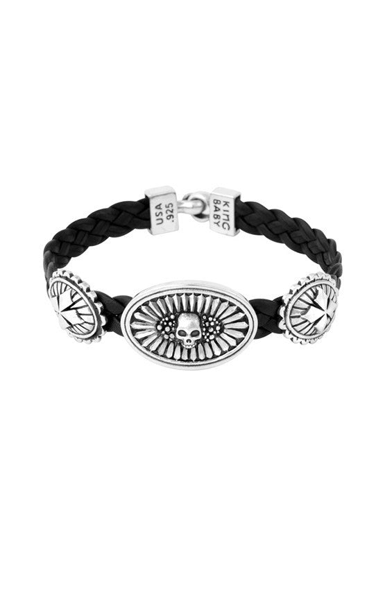 Bracelets | Braided Leather Bracelet with Skull and MB Cross Conchos