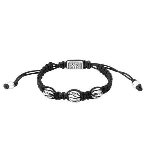 Black Macrame Bracelet with Three Feather Spheres