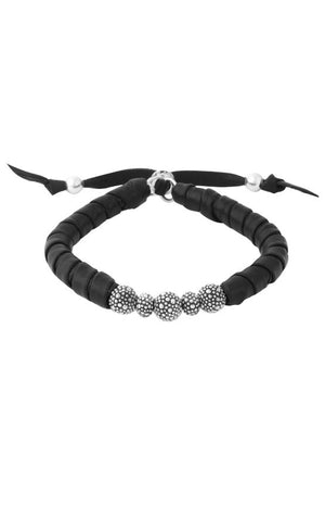 Thin Natural Wrap Black Leather Bracelet w/ Stingray Beads