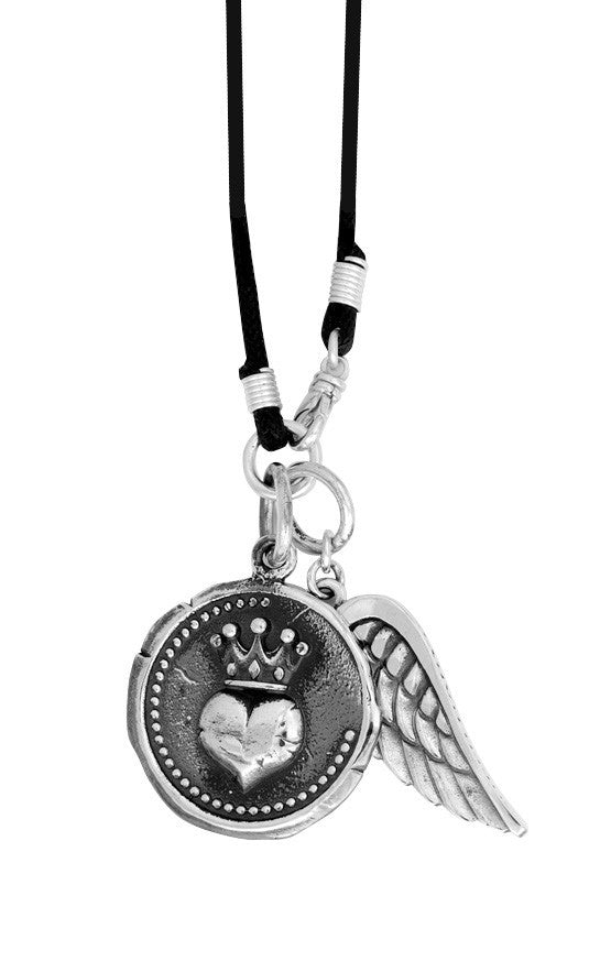 Large Heart Coin w/Wing on Braided Cord