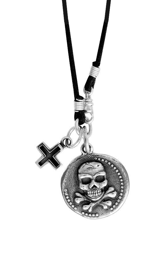 Large Skull Coin w/Ancient Cross on Braided Cord