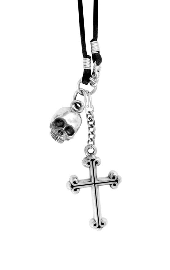 King Baby Hamlet Skull and Cross Pendant