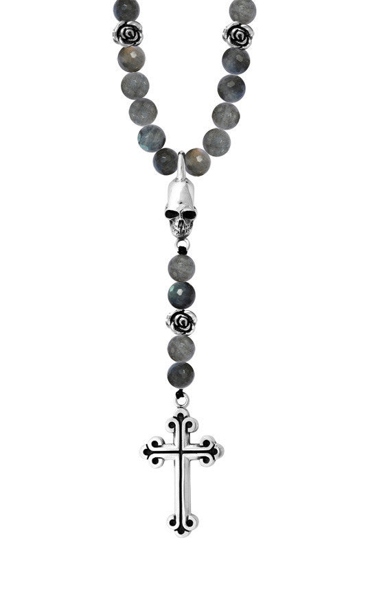 10mm Labradorite Rosary w/Silver Roses, Skull and Traditional Cross