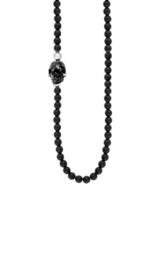 6mm Onyx Bead Necklace w/Jet Skull