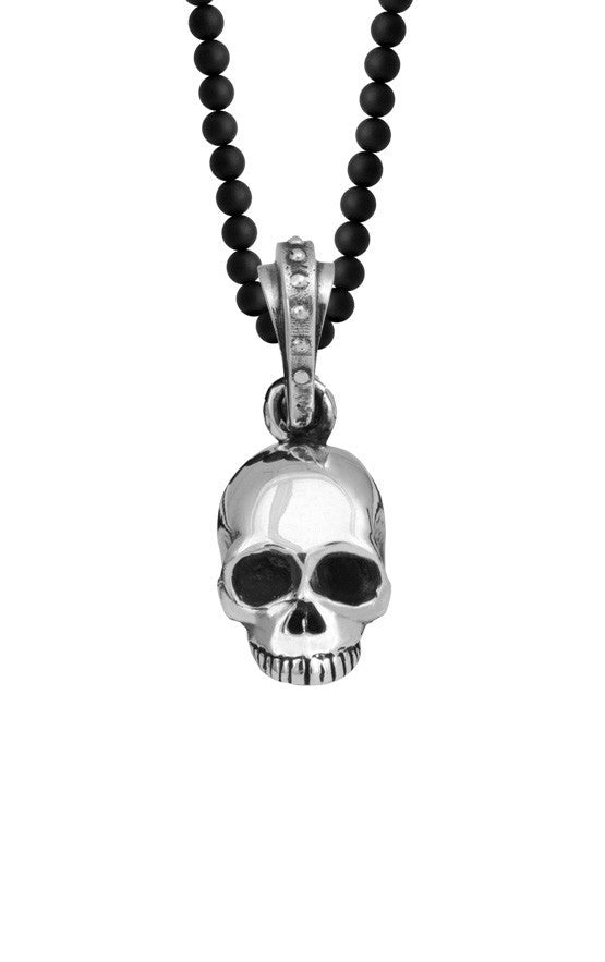 Hamlet Skull on 3mm Onyx Bead Necklace