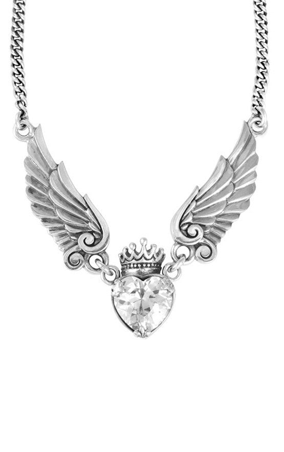 king baby crowned heart with wings necklace