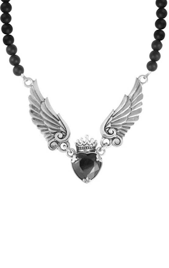Crowned Black CZ Heart Onyx Bead Necklace 16''