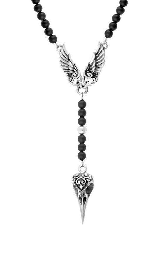 Rosary w/Onyx Beads, Raven Skull and Wings