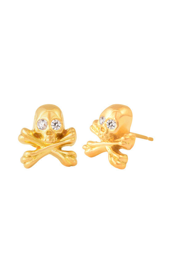 18K Gold Skull and Crossbones Post Earring w/ Diamond Eyes