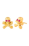 18K Gold Skull and Crossbones Post Earring w/ Ruby Eyes