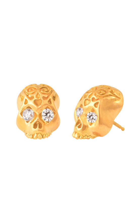 18K Gold Day of The Dead Skull Post Earring w/ Diamond Eyes