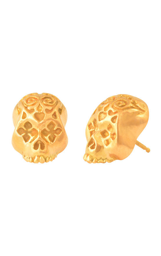 18K Gold Day Of The Dead Skull Post Earrings