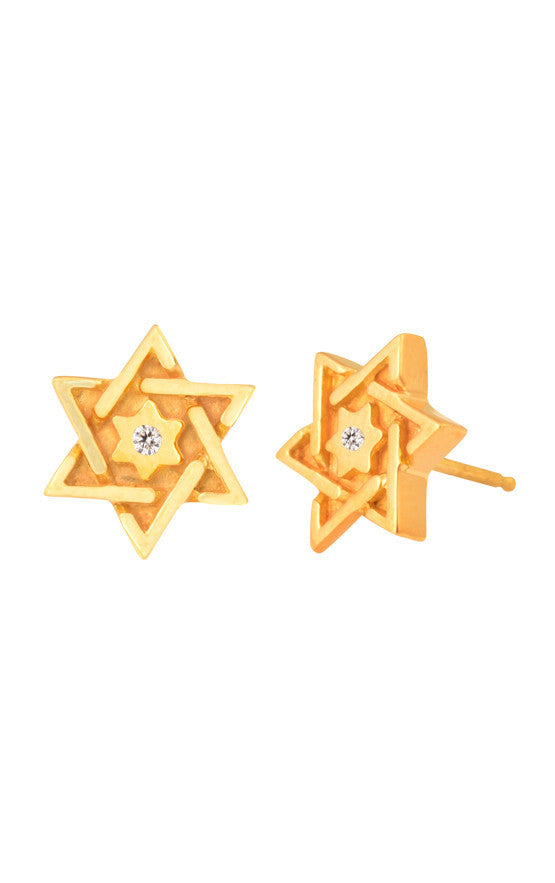 18K Gold Star of David Post Earrings w/ Diamonds