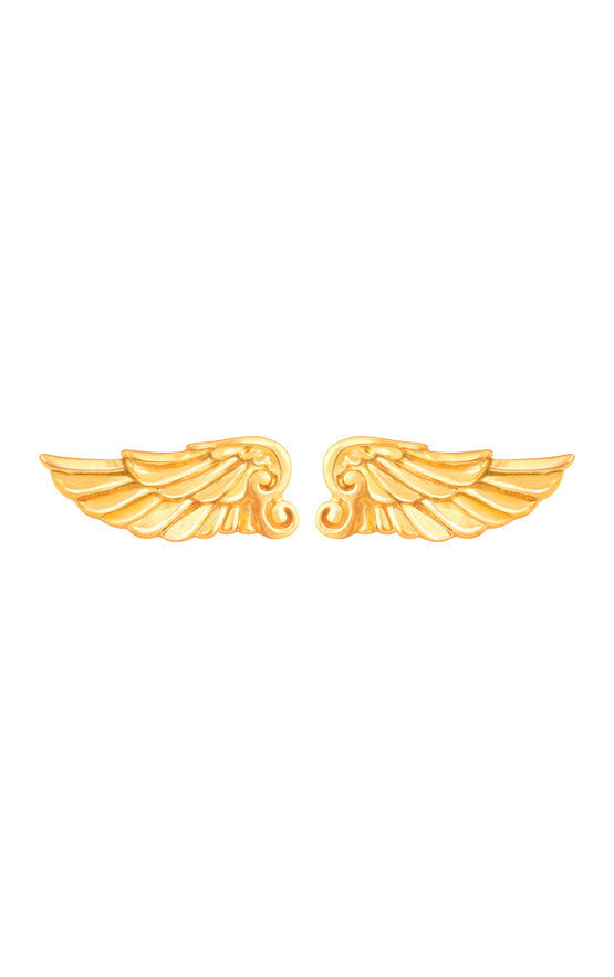 18K Gold Wing Post Earrings