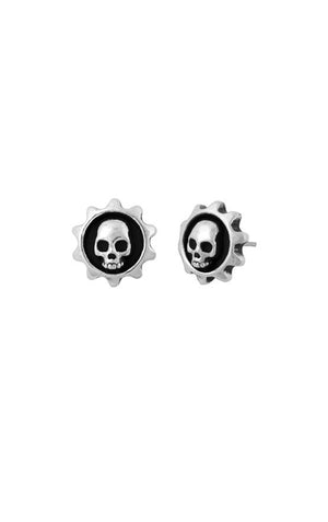 Gear Skull Post Earrings