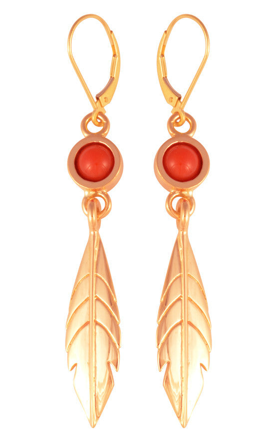 18K Gold Streamline Feather with Coral Accent Leaver Back Earrings