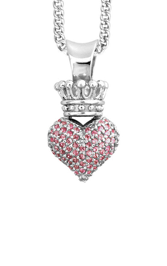 Small 3D Pave Pink CZ Crowned Heart Pendant