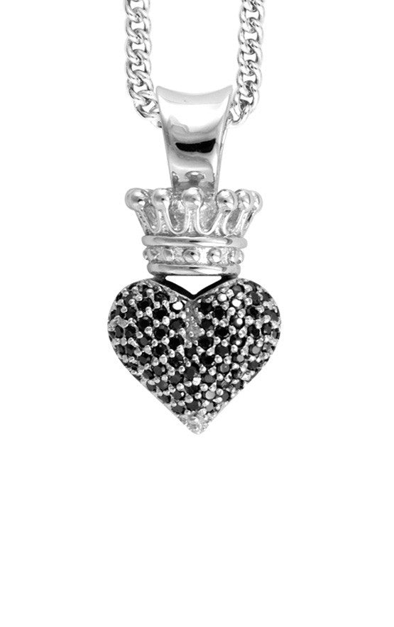 Small 3D Pave Black CZ Crowned Heart Pendant
