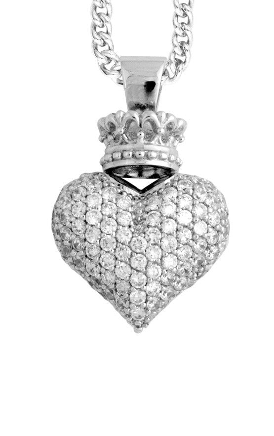 Large 3D Pave CZ Crowned Heart Pendant