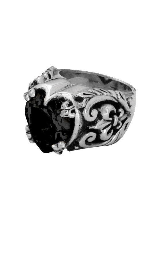 king baby black heart cz ring
