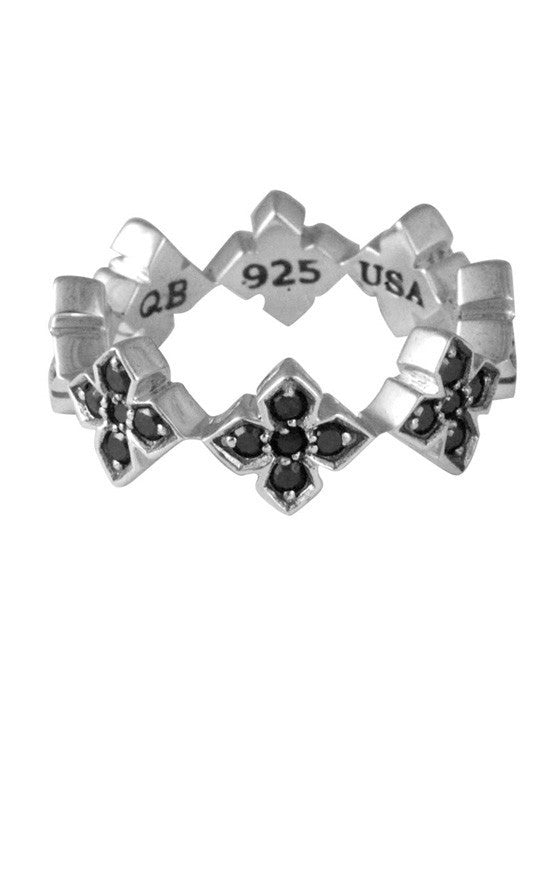 Pave Black CZ MB Cross Ring