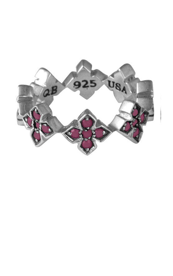 Pave Pink CZ MB Cross Ring
