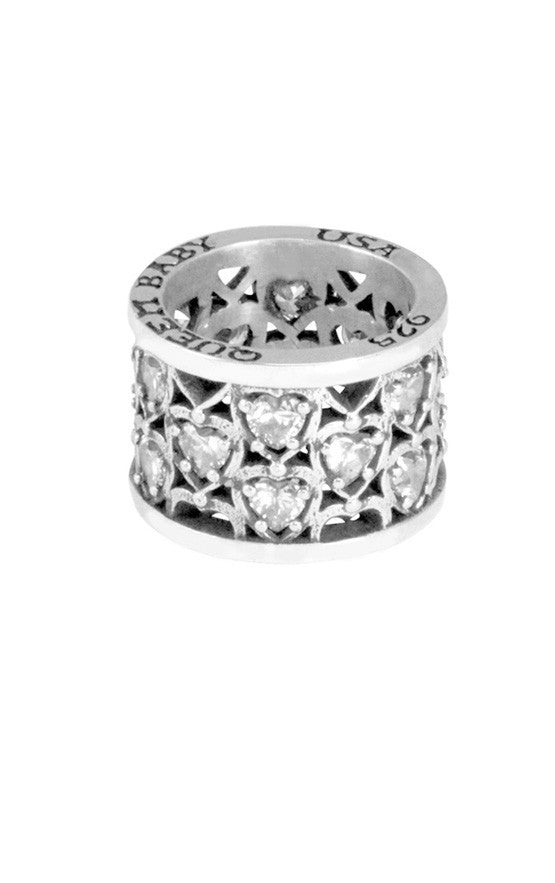 Heart Patterned Ring w/CZ Stones