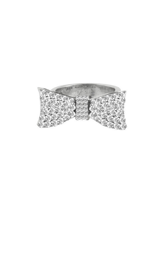 Baby Bow Ring Pave CZ