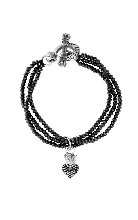 Three Strand Black Spinel Bracelet w/Black Pave CZ Crowned Heart