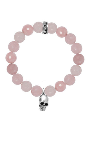 10mm Rose Quartz Bead Bracelet w/Skull
