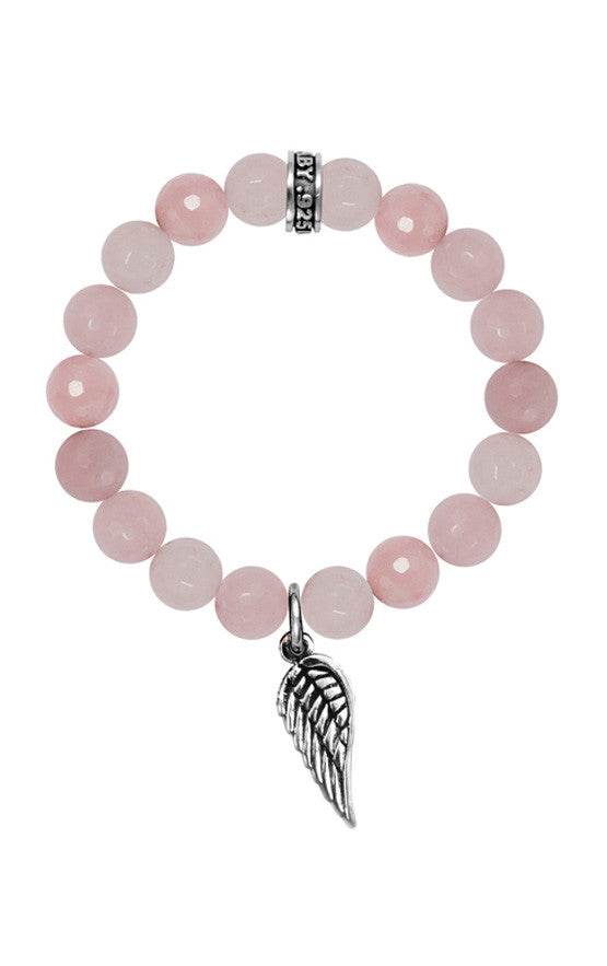10mm Rose Quartz Bead Bracelet w/Wing