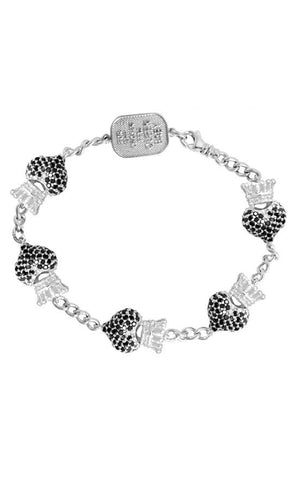 Black Pave CZ Crowned Heart Motif Bracelet