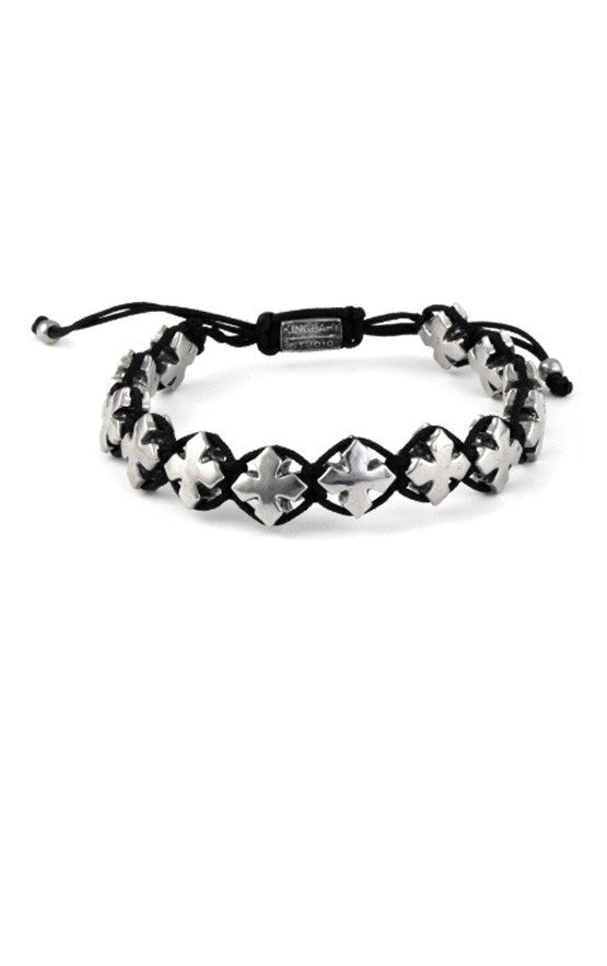 Black Macrame Bracelet w/ Alloy MB Crosses