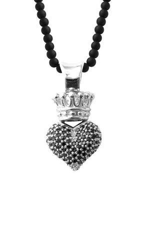 Small 3D Pave Black CZ Crowned Heart on 18'' Onyx Bead Necklace