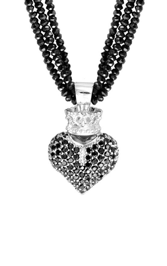 Black Spinel Necklace w/Large 3D Black Pave CZ Crowned Heart
