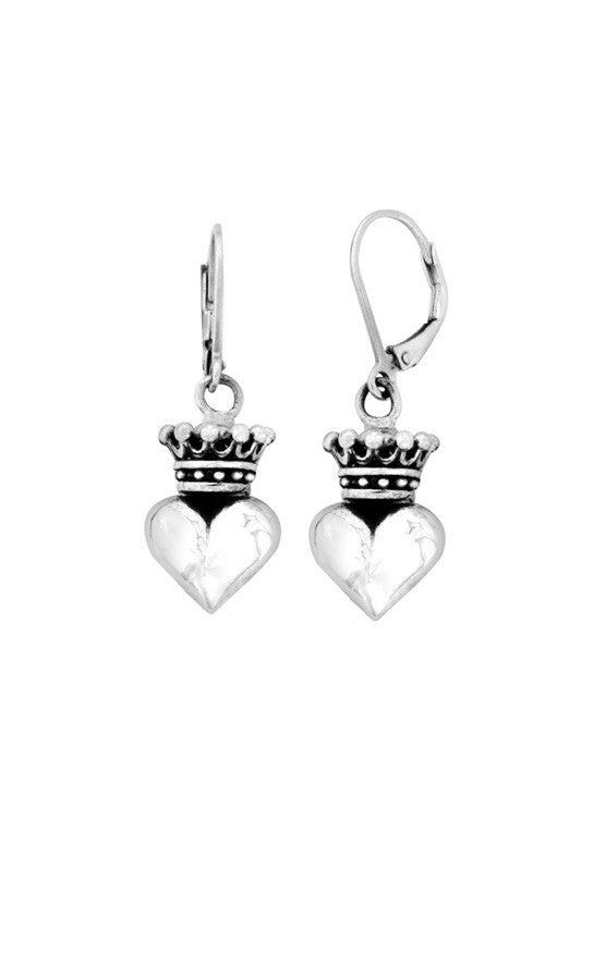 Small 3D Crowned Heart Leverback Earrings