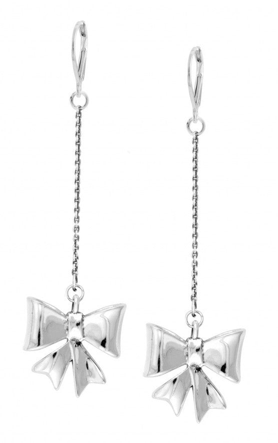 Leverback Chain Earrings w/Bow Drops