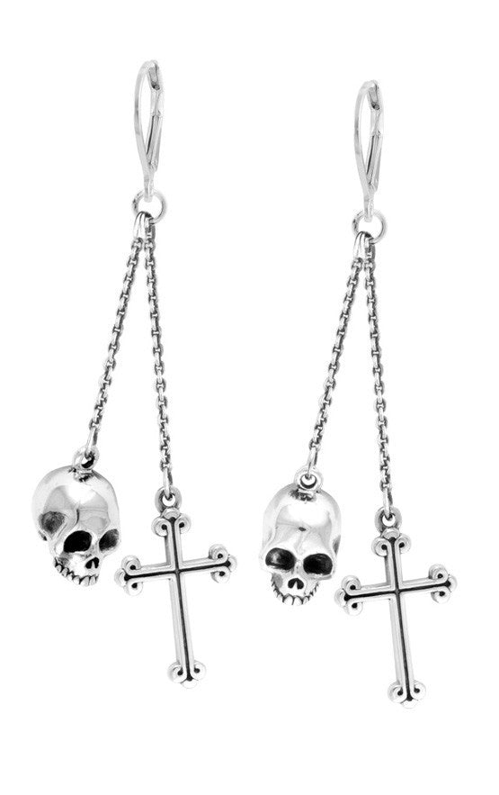 Leverback Earrings w/Skull and Traditional Cross Drops