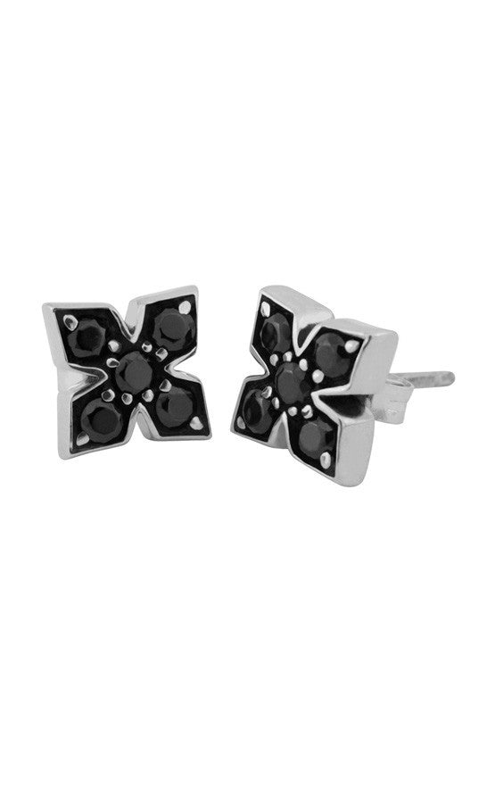 Pave Black CZ MB Cross Post Earrings