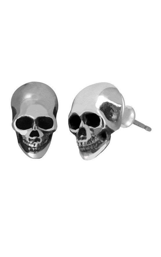 king baby silver skull earrings
