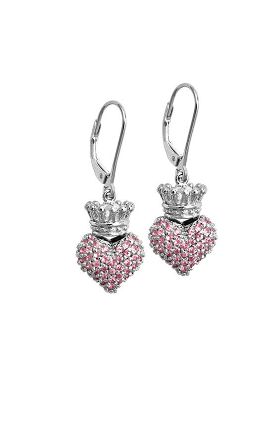 Small 3D Crowned Heart w/Pave Pink CZ Leverback Earrings