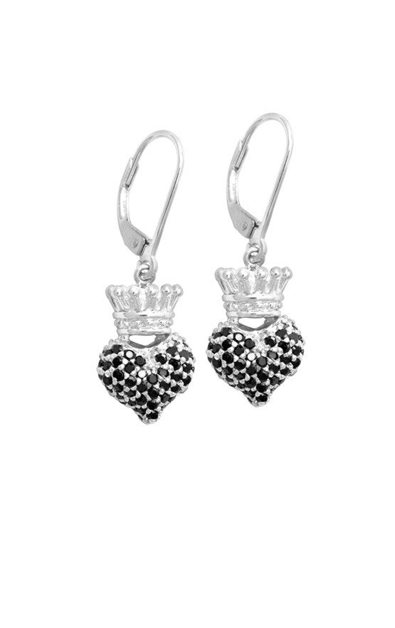 Small 3D Crowned Heart w/Pave Black CZ Leverback Earrings