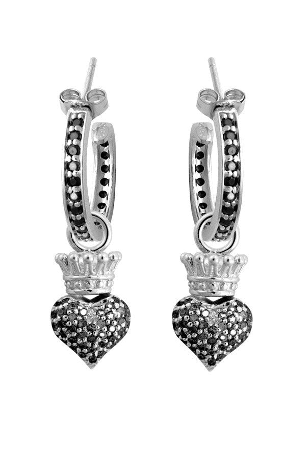 Small Pave Black CZ Crowned Heart Hoops