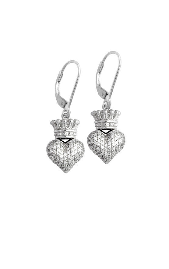Small 3D Crowned Heart w/Pave CZ Leverback Earrings