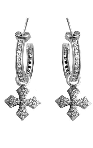 Small Pave CZ MB Cross Hoops