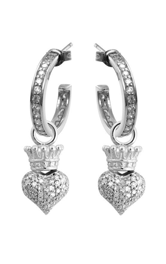 Small Pave CZ Crowned Heart Hoops
